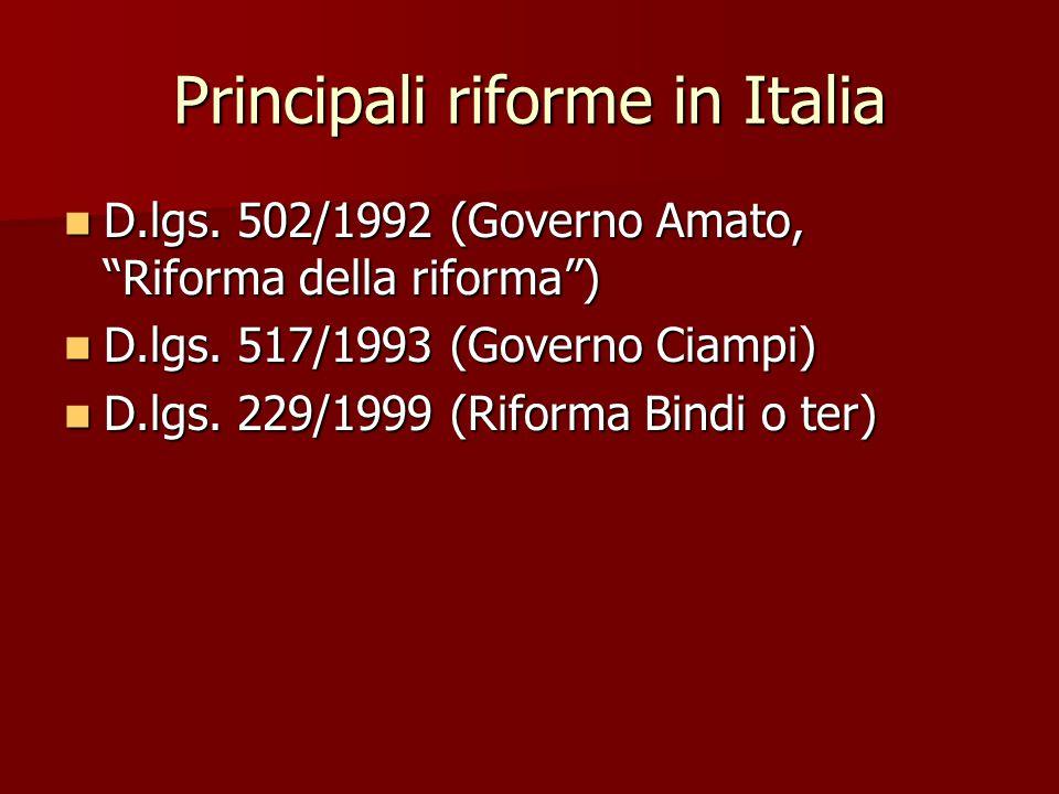 """Principali riforme in Italia D.lgs. 502/1992 (Governo Amato, """"Riforma della riforma"""") D.lgs. 502/1992 (Governo Amato, """"Riforma della riforma"""") D.lgs."""