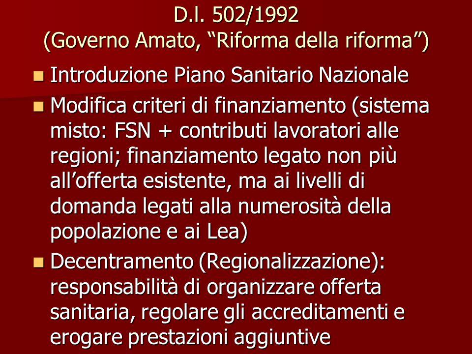 """D.l. 502/1992 (Governo Amato, """"Riforma della riforma"""") Introduzione Piano Sanitario Nazionale Introduzione Piano Sanitario Nazionale Modifica criteri"""