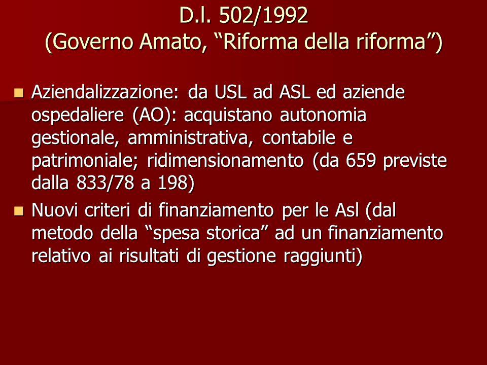 """D.l. 502/1992 (Governo Amato, """"Riforma della riforma"""") Aziendalizzazione: da USL ad ASL ed aziende ospedaliere (AO): acquistano autonomia gestionale,"""