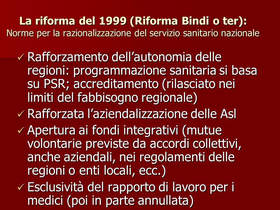 La riforma del 1999 (Riforma Bindi o ter): Norme per la razionalizzazione del servizio sanitario nazionale Rafforzamento dell'autonomia delle regioni: