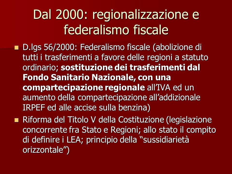 Dal 2000: regionalizzazione e federalismo fiscale D.lgs 56/2000: Federalismo fiscale (abolizione di tutti i trasferimenti a favore delle regioni a sta