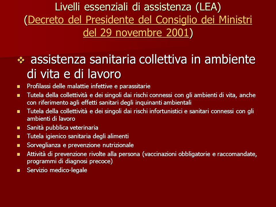 Livelli essenziali di assistenza (LEA) (Decreto del Presidente del Consiglio dei Ministri del 29 novembre 2001) Decreto del Presidente del Consiglio d