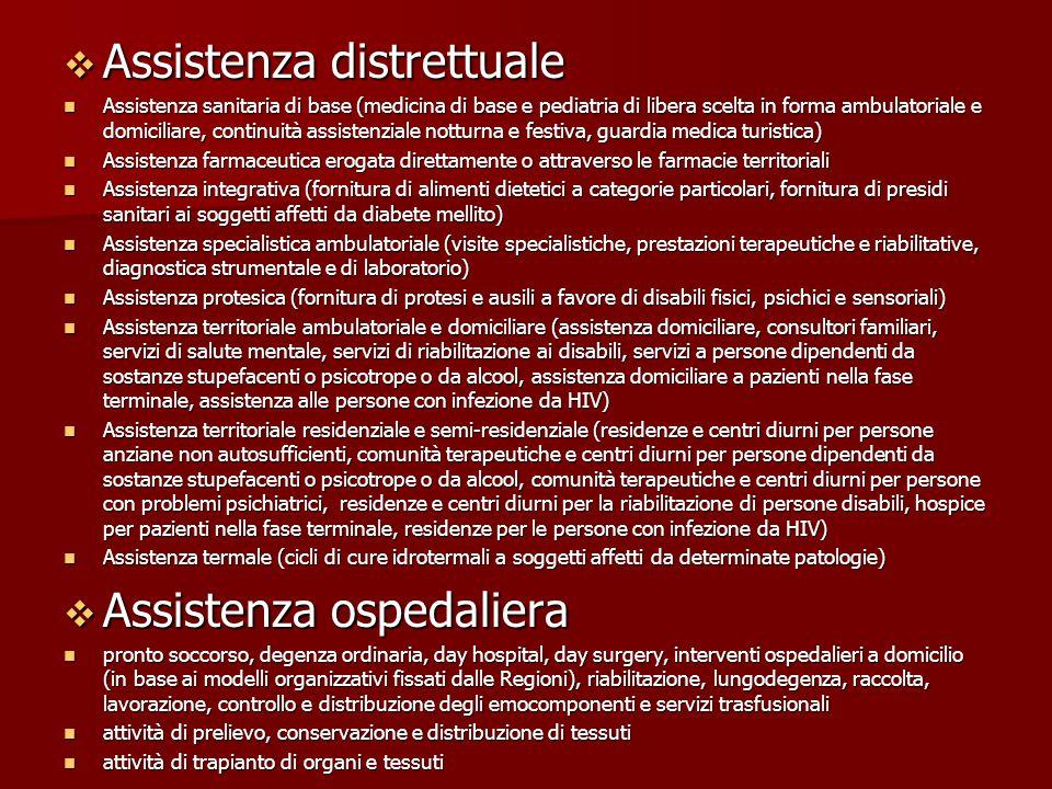  Assistenza distrettuale Assistenza sanitaria di base (medicina di base e pediatria di libera scelta in forma ambulatoriale e domiciliare, continuità