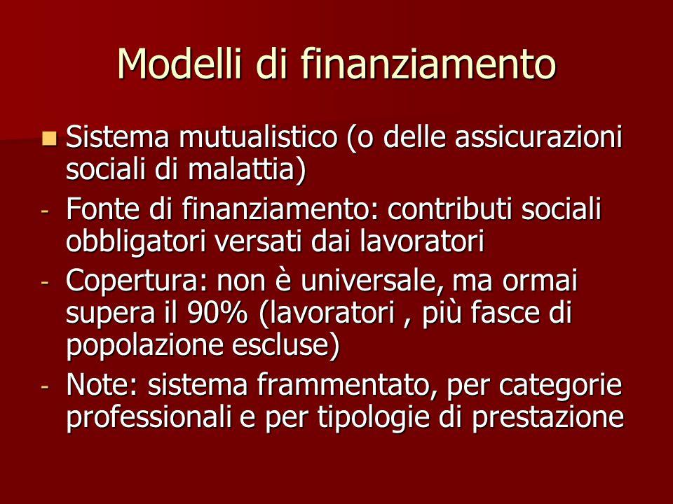 Modelli di finanziamento Sistema mutualistico (o delle assicurazioni sociali di malattia) Sistema mutualistico (o delle assicurazioni sociali di malat