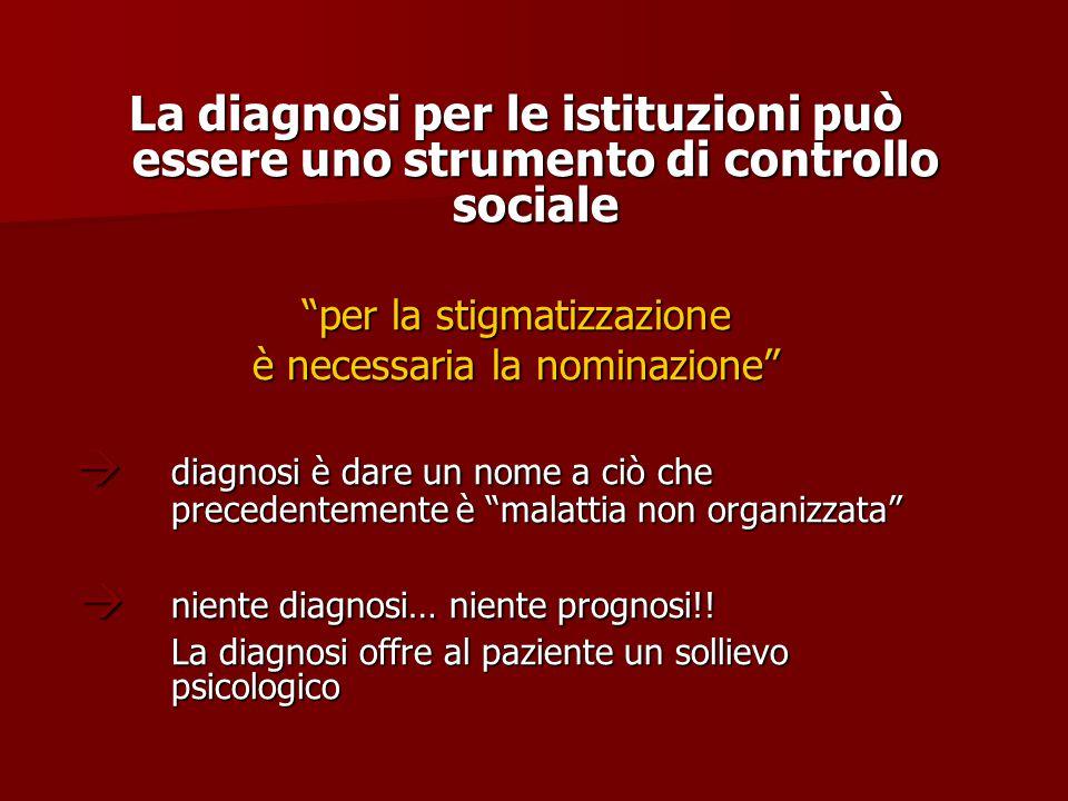 """La diagnosi per le istituzioni può essere uno strumento di controllo sociale """"per la stigmatizzazione è necessaria la nominazione""""  diagnosi è dare u"""