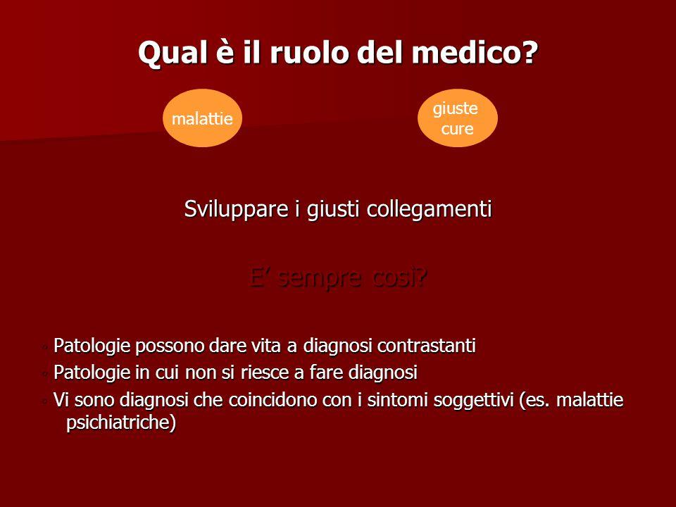 Qual è il ruolo del medico? Sviluppare i giusti collegamenti E' sempre così? ◦ Patologie possono dare vita a diagnosi contrastanti ◦ Patologie in cui