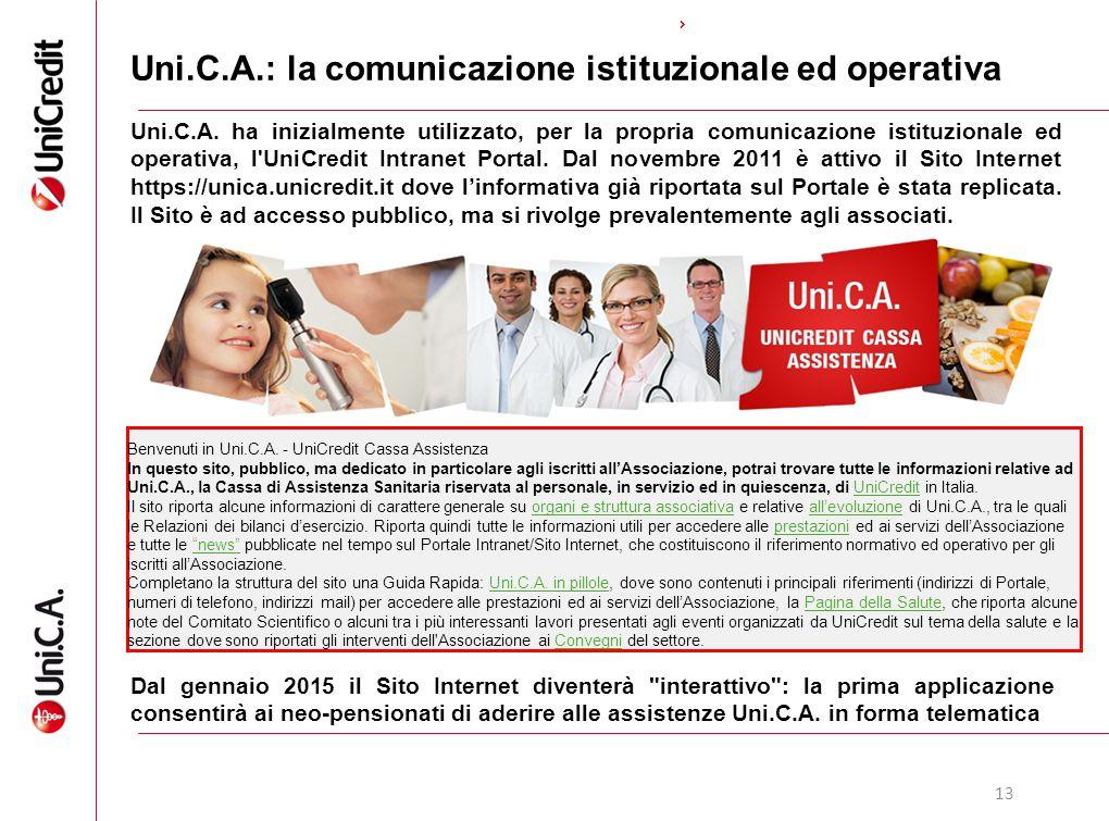 13 Uni.C.A.: la comunicazione istituzionale ed operativa Uni.C.A. ha inizialmente utilizzato, per la propria comunicazione istituzionale ed operativa,