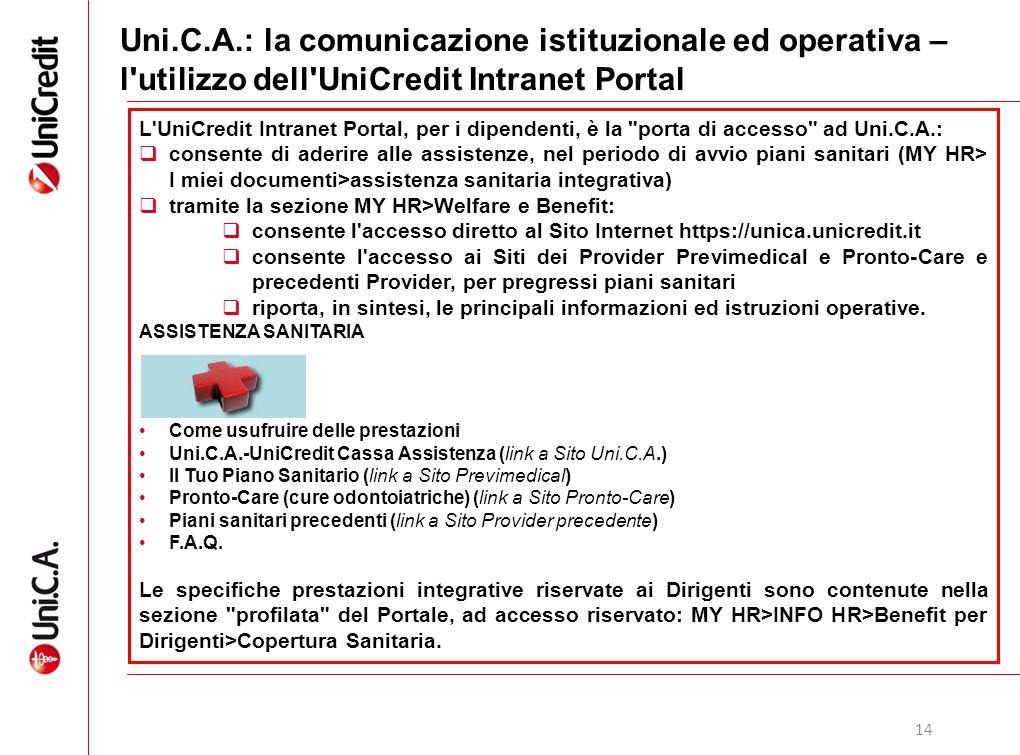 14 Uni.C.A.: la comunicazione istituzionale ed operativa – l'utilizzo dell'UniCredit Intranet Portal L'UniCredit Intranet Portal, per i dipendenti, è