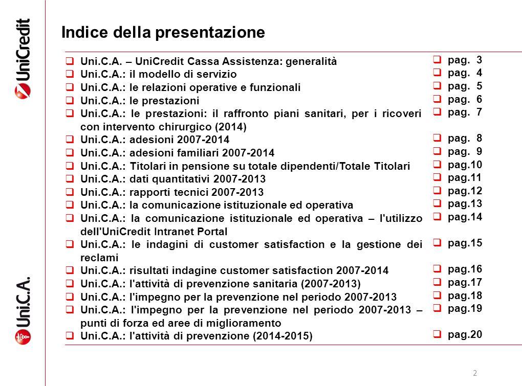2 Indice della presentazione  Uni.C.A. – UniCredit Cassa Assistenza: generalità  Uni.C.A.: il modello di servizio  Uni.C.A.: le relazioni operative