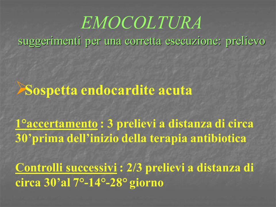 suggerimenti per una corretta esecuzione: prelievo EMOCOLTURA suggerimenti per una corretta esecuzione: prelievo  Sospetta endocardite acuta 1°accert