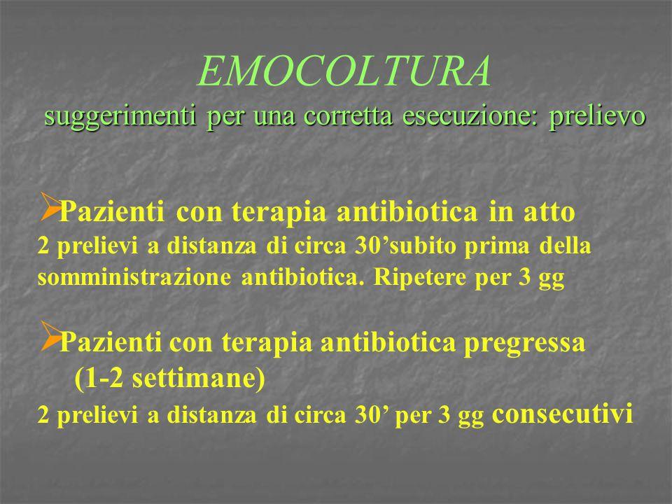 suggerimenti per una corretta esecuzione: prelievo EMOCOLTURA suggerimenti per una corretta esecuzione: prelievo  Pazienti con terapia antibiotica in