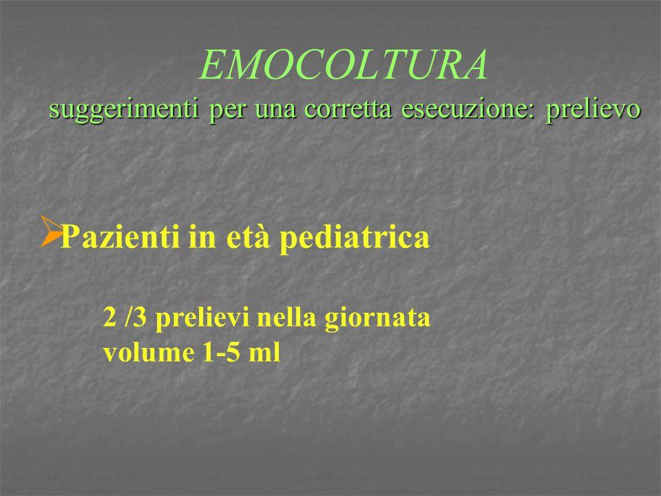 suggerimenti per una corretta esecuzione: prelievo EMOCOLTURA suggerimenti per una corretta esecuzione: prelievo  Pazienti in età pediatrica 2 /3 pre