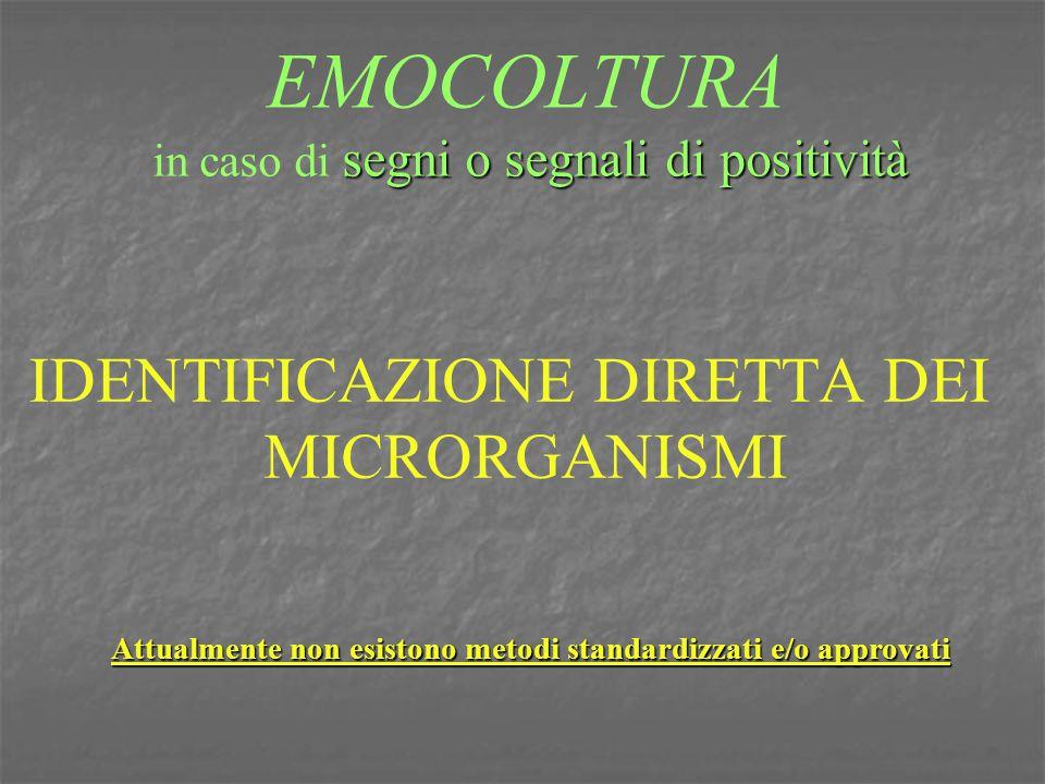 segni o segnali di positività EMOCOLTURA in caso di segni o segnali di positività IDENTIFICAZIONE DIRETTA DEI MICRORGANISMI Attualmente non esistono m