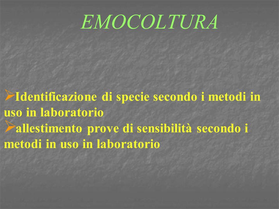 EMOCOLTURA  Identificazione di specie secondo i metodi in uso in laboratorio  allestimento prove di sensibilità secondo i metodi in uso in laborator