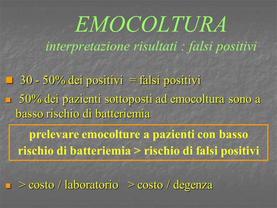 EMOCOLTURA interpretazione risultati : falsi positivi 30 - 50% dei positivi = falsi positivi 30 - 50% dei positivi = falsi positivi 50% dei pazienti s
