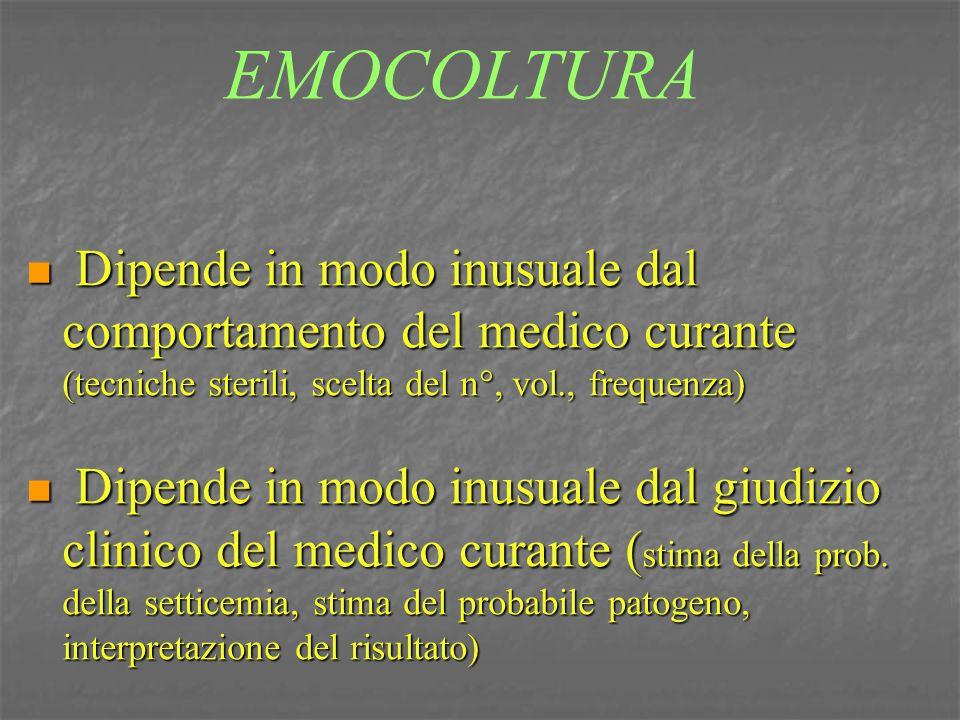 EMOCOLTURA Dipende in modo inusuale dal comportamento del medico curante (tecniche sterili, scelta del n°, vol., frequenza) Dipende in modo inusuale d