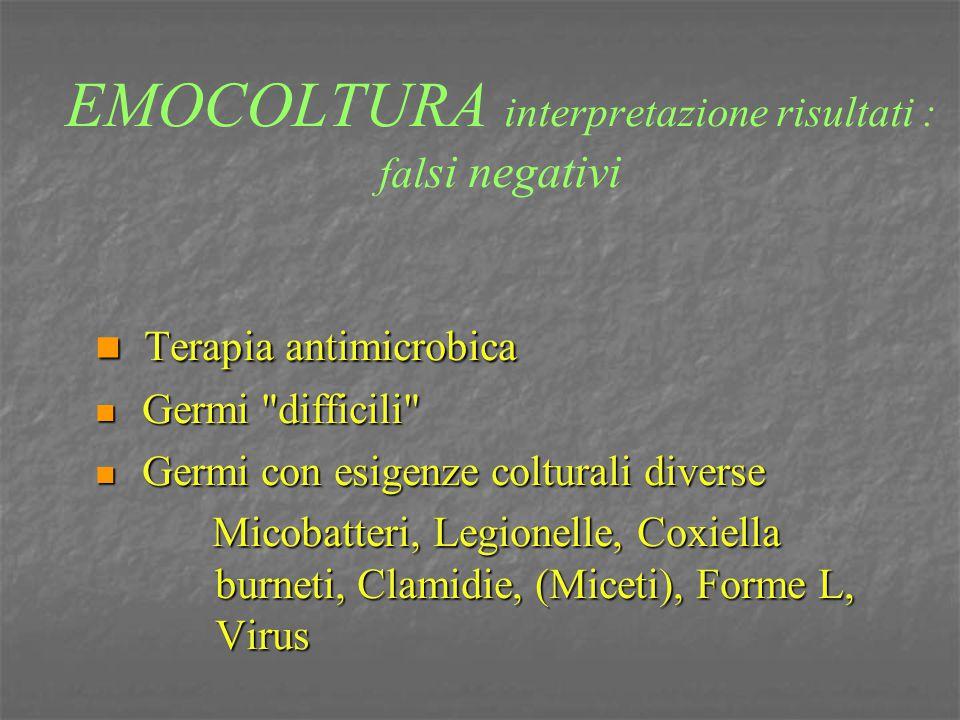 EMOCOLTURA interpretazione risultati : fal si negativi Terapia antimicrobica Terapia antimicrobica Germi