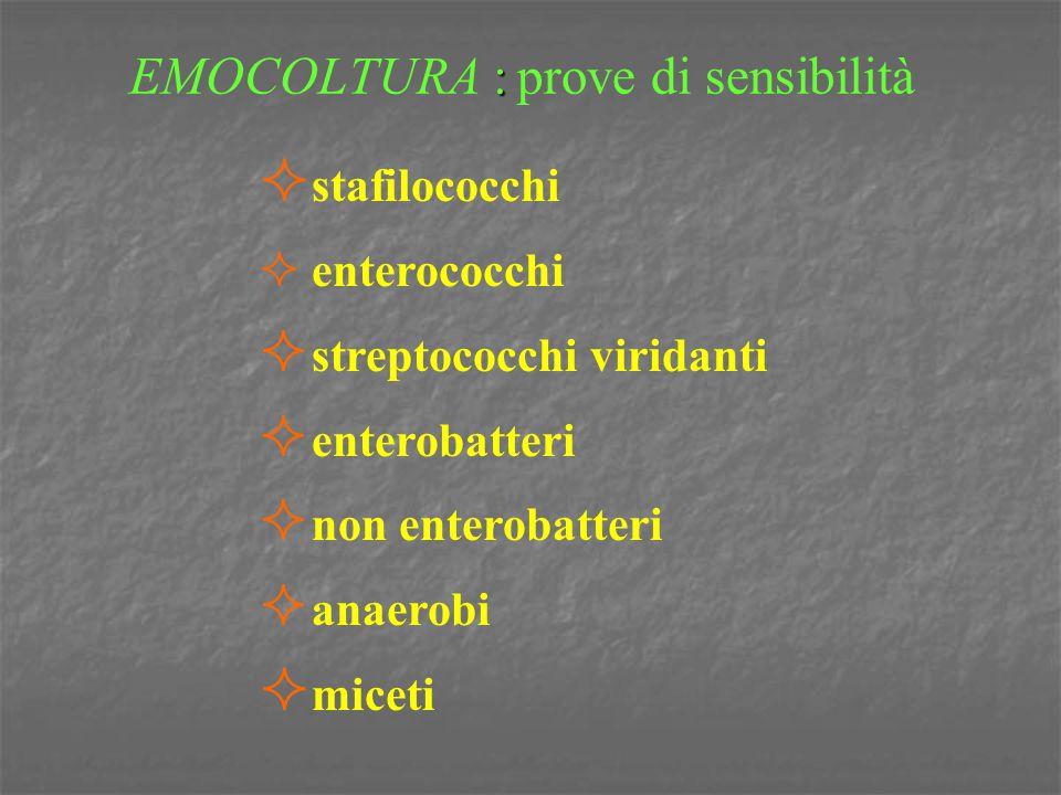 : EMOCOLTURA : prove di sensibilità  stafilococchi  enterococchi  streptococchi viridanti  enterobatteri  non enterobatteri  anaerobi  miceti