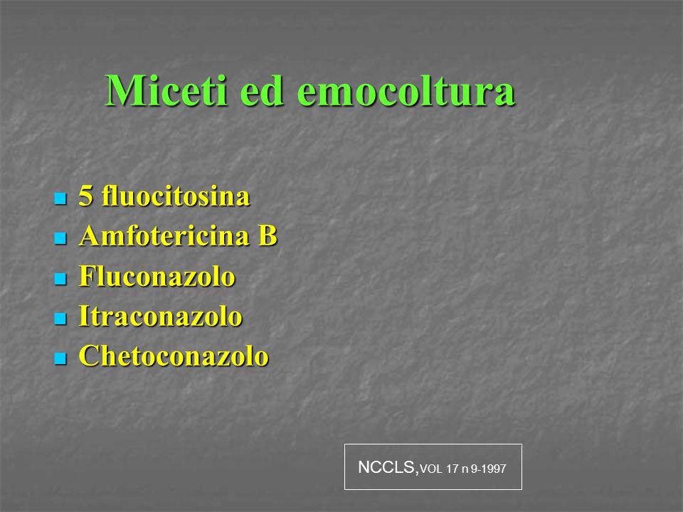 Miceti ed emocoltura 5 fluocitosina 5 fluocitosina Amfotericina B Amfotericina B Fluconazolo Fluconazolo Itraconazolo Itraconazolo Chetoconazolo Cheto