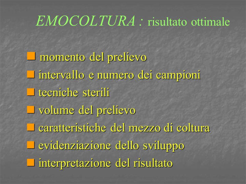 EMOCOLTURA : risultato ottimale momento del prelievo momento del prelievo intervallo e numero dei campioni intervallo e numero dei campioni tecniche s