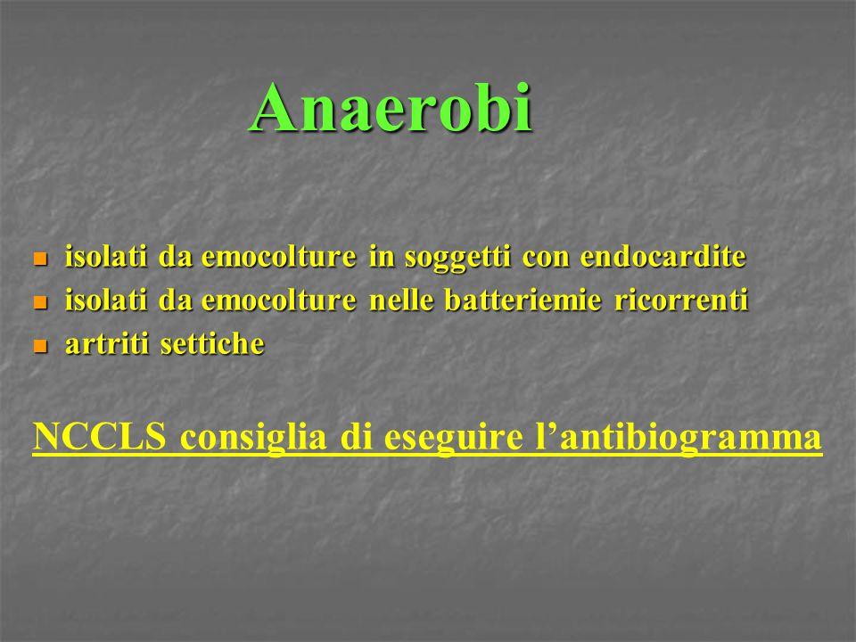 Anaerobi isolati da emocolture in soggetti con endocardite isolati da emocolture in soggetti con endocardite isolati da emocolture nelle batteriemie r