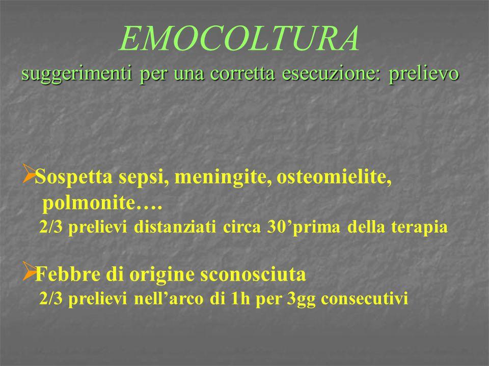 suggerimenti per una corretta esecuzione: prelievo EMOCOLTURA suggerimenti per una corretta esecuzione: prelievo  Sospetta sepsi, meningite, osteomie
