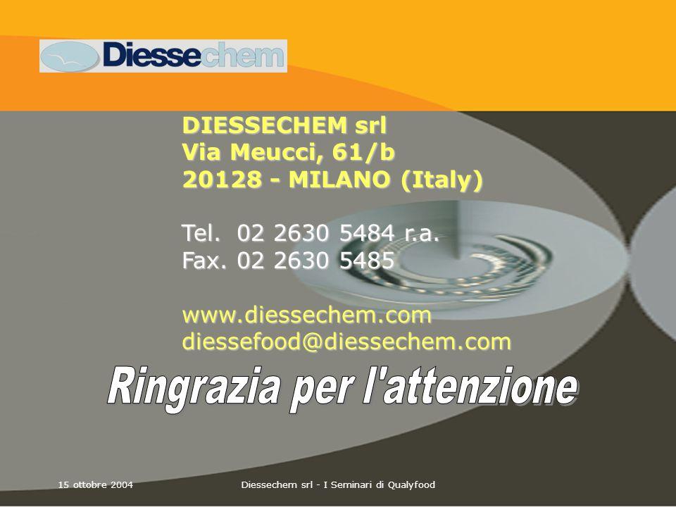15 ottobre 2004Diessechem srl - I Seminari di Qualyfood DIESSECHEM srl Via Meucci, 61/b 20128 - MILANO (Italy) Tel. 02 2630 5484 r.a. Fax. 02 2630 548