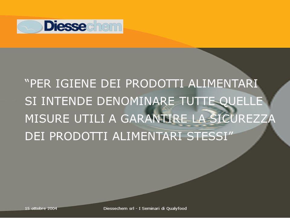 15 ottobre 2004Diessechem srl - I Seminari di Qualyfood ATP è presente in ogni organismo vivente ed anche in residui di cibo.