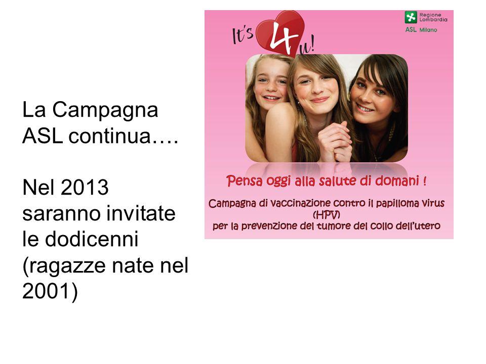 La Campagna ASL continua…. Nel 2013 saranno invitate le dodicenni (ragazze nate nel 2001)