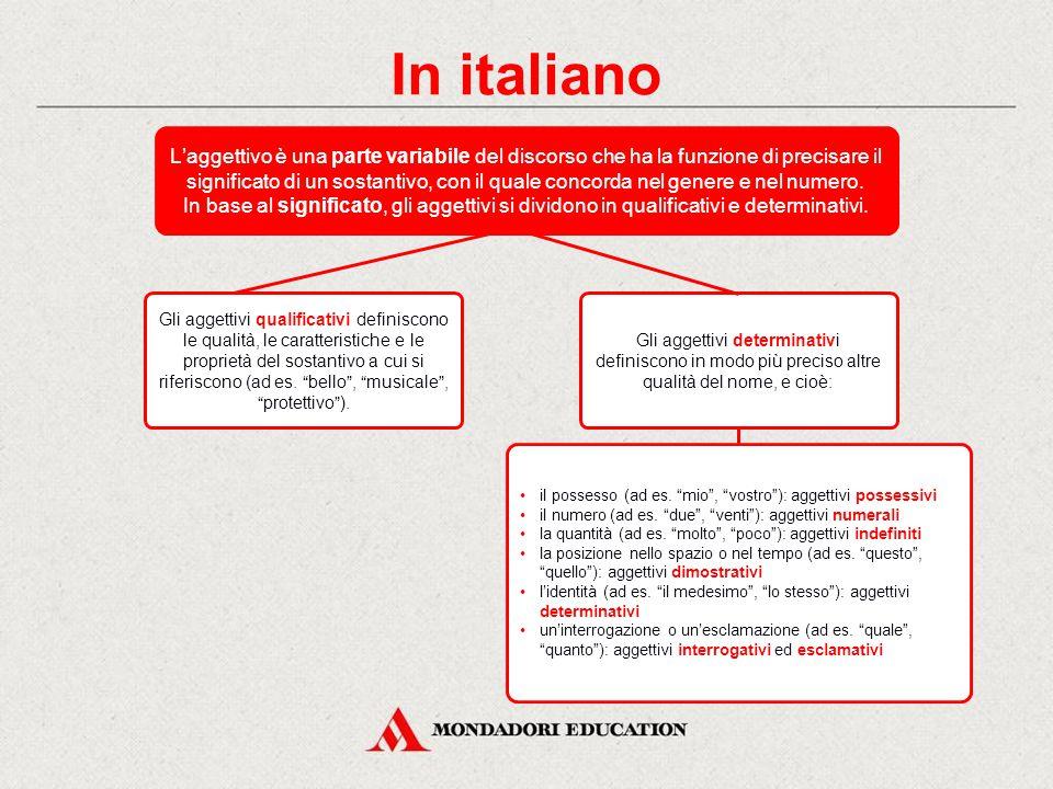 In italiano Gli aggettivi in -us, -a, -um Aggettivi della I classe in -us, -a, -um Gli aggettivi in -er, -ĕra, -ĕrum Gli aggettivi in -er, -ra, -rum G