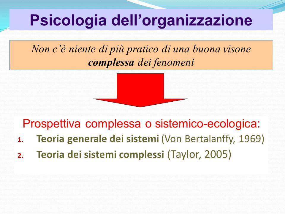 Psicologia dell'organizzazione Prospettiva complessa o sistemico-ecologica: 1.
