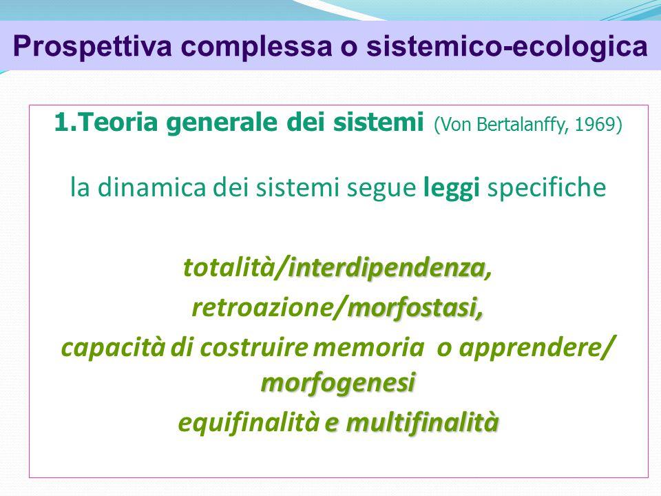 Psicologia dell'organizzazione 1.Teoria generale dei sistemi (Von Bertalanffy, 1969) la dinamica dei sistemi segue leggi specifiche interdipendenza totalità/interdipendenza, morfostasi, retroazione/morfostasi, morfogenesi capacità di costruire memoria o apprendere/ morfogenesi e multifinalità equifinalità e multifinalità Prospettiva complessa o sistemico-ecologica