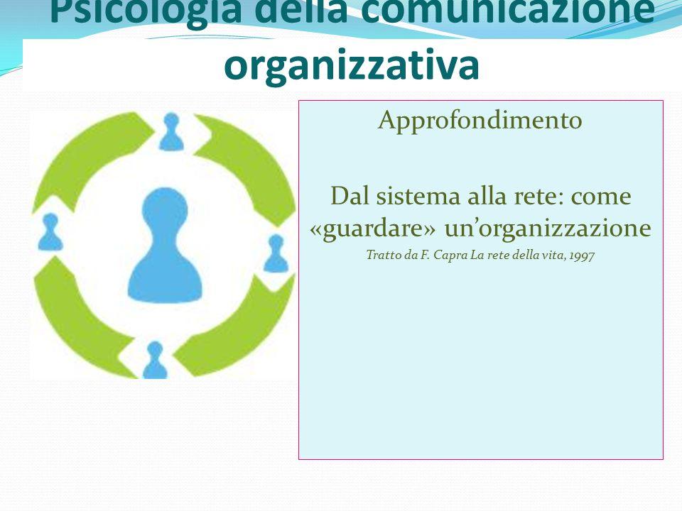 Psicologia della comunicazione organizzativa Approfondimento Dal sistema alla rete: come «guardare» un'organizzazione Tratto da F.