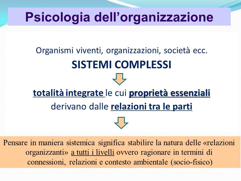 Psicologia dell'organizzazione Organismi viventi, organizzazioni, società ecc.