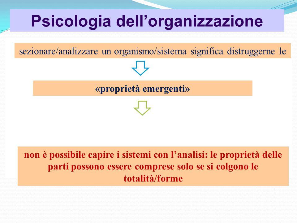 Psicologia dell'organizzazione sezionare/analizzare un organismo/sistema significa distruggerne le «proprietà emergenti» non è possibile capire i sistemi con l'analisi: le proprietà delle parti possono essere comprese solo se si colgono le totalità/forme