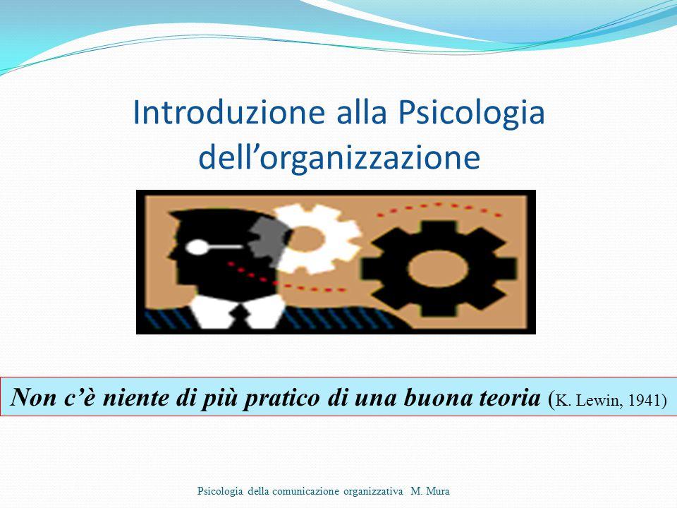 Introduzione alla Psicologia dell'organizzazione Psicologia della comunicazione organizzativa M.