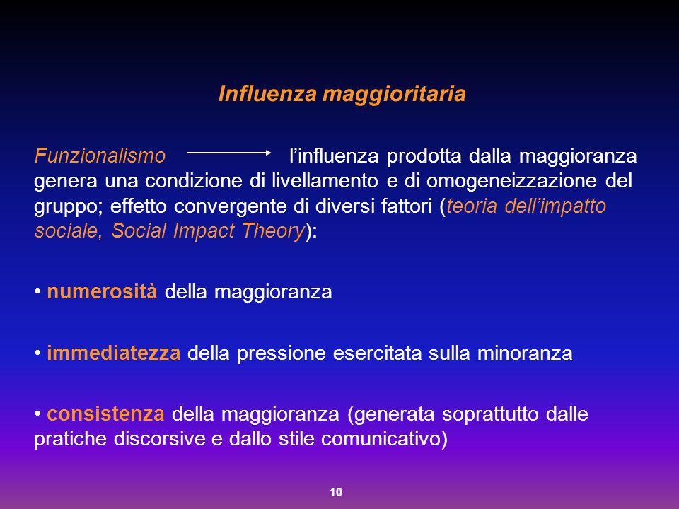 10 Influenza maggioritaria Funzionalismo l'influenza prodotta dalla maggioranza genera una condizione di livellamento e di omogeneizzazione del gruppo