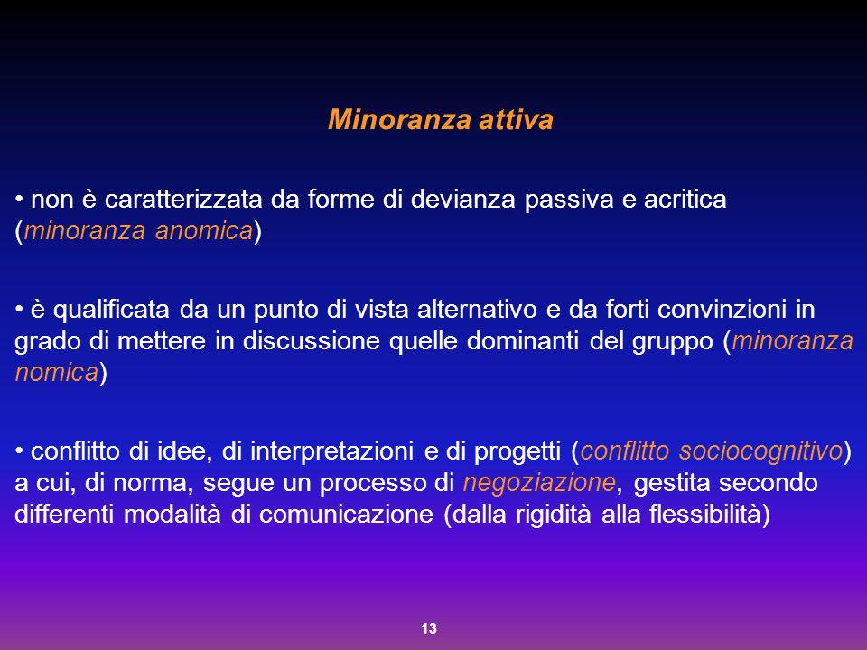 13 Minoranza attiva non è caratterizzata da forme di devianza passiva e acritica (minoranza anomica) è qualificata da un punto di vista alternativo e