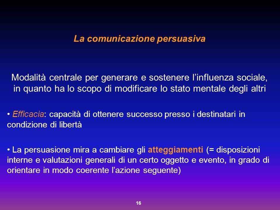 16 La comunicazione persuasiva Modalità centrale per generare e sostenere l'influenza sociale, in quanto ha lo scopo di modificare lo stato mentale de