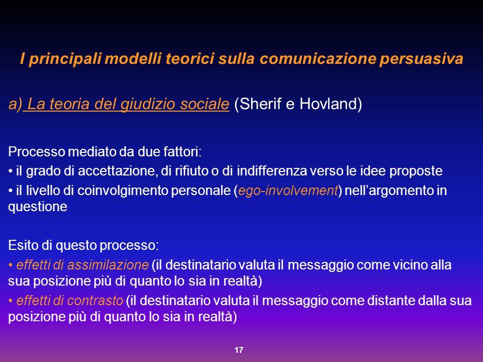 17 I principali modelli teorici sulla comunicazione persuasiva a) La teoria del giudizio sociale (Sherif e Hovland) Processo mediato da due fattori: i
