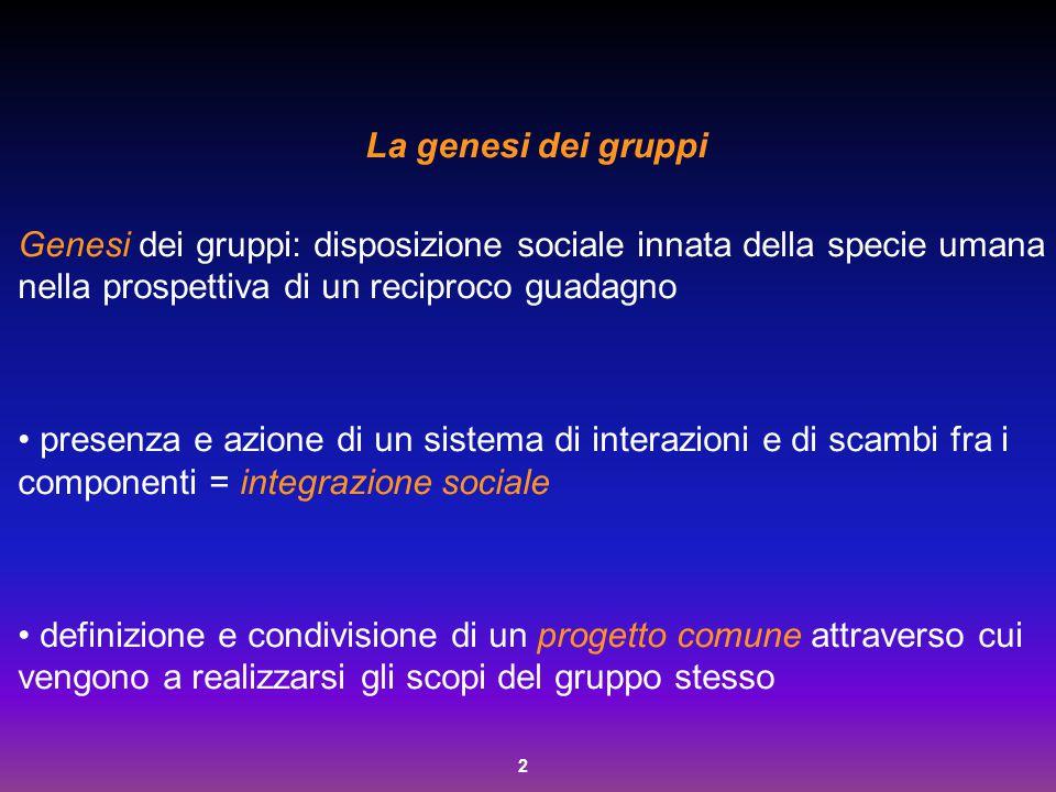 2 La genesi dei gruppi Genesi dei gruppi: disposizione sociale innata della specie umana nella prospettiva di un reciproco guadagno presenza e azione