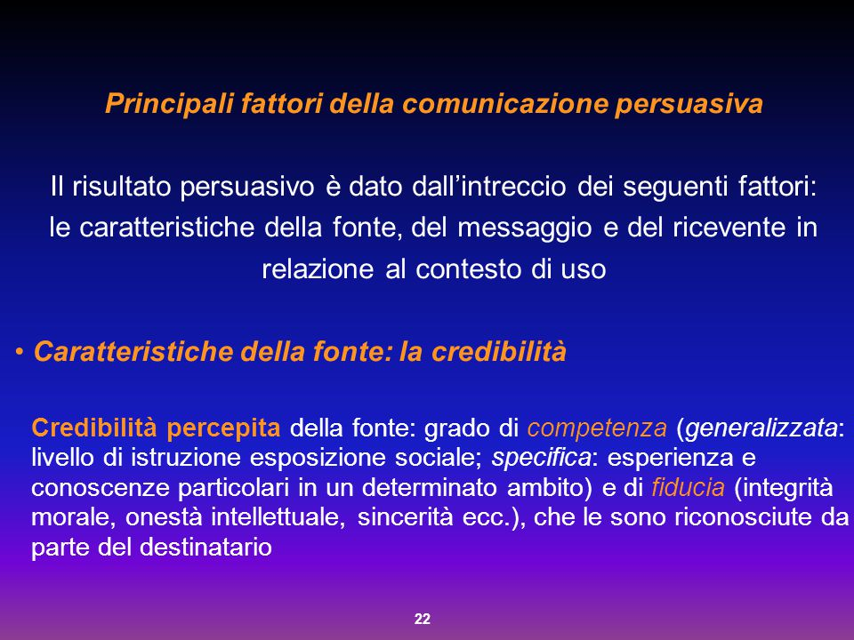 22 Principali fattori della comunicazione persuasiva Il risultato persuasivo è dato dall'intreccio dei seguenti fattori: le caratteristiche della font