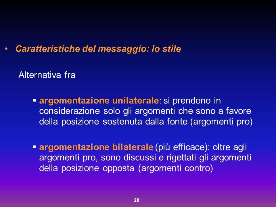 28 Caratteristiche del messaggio: lo stile Alternativa fra  argomentazione unilaterale: si prendono in considerazione solo gli argomenti che sono a f