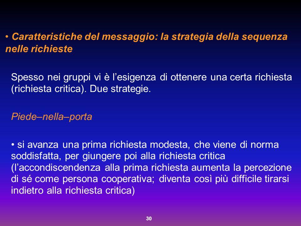 30 Caratteristiche del messaggio: la strategia della sequenza nelle richieste Spesso nei gruppi vi è l'esigenza di ottenere una certa richiesta (richi