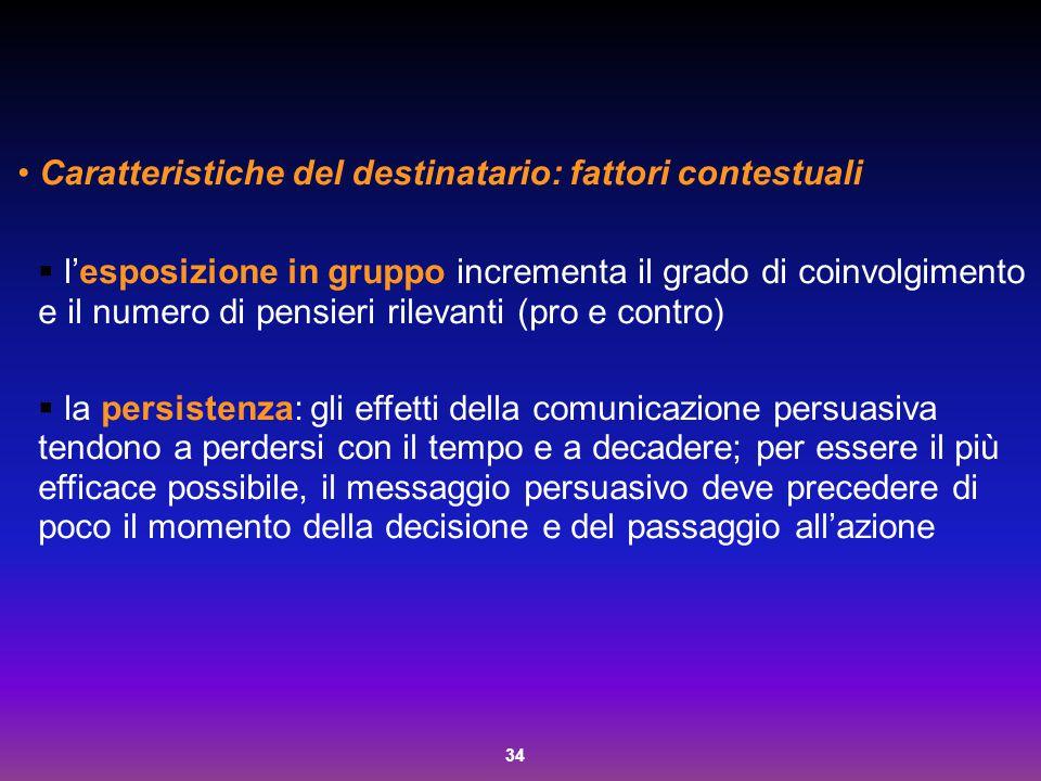 34 Caratteristiche del destinatario: fattori contestuali  l'esposizione in gruppo incrementa il grado di coinvolgimento e il numero di pensieri rilev