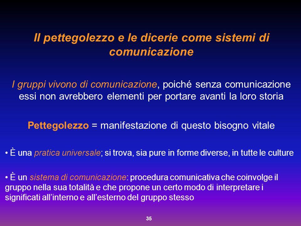 35 Il pettegolezzo e le dicerie come sistemi di comunicazione I gruppi vivono di comunicazione, poiché senza comunicazione essi non avrebbero elementi