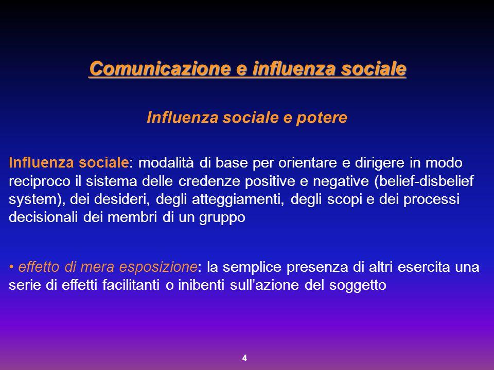 4 Comunicazione e influenza sociale Influenza sociale e potere Influenza sociale: modalità di base per orientare e dirigere in modo reciproco il siste