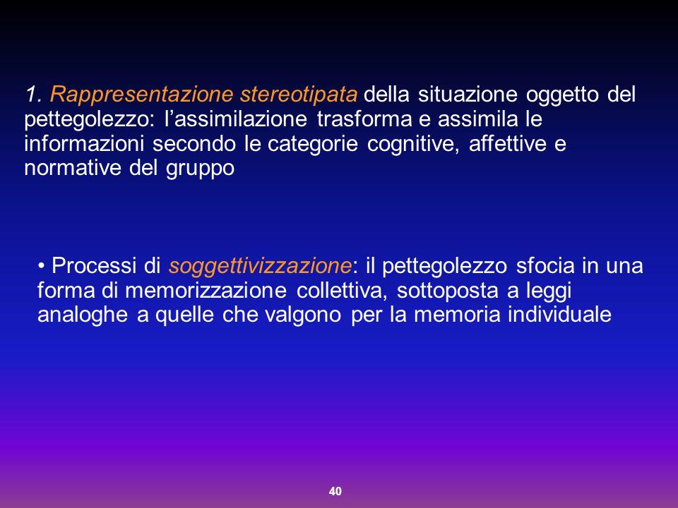 40 1. Rappresentazione stereotipata della situazione oggetto del pettegolezzo: l'assimilazione trasforma e assimila le informazioni secondo le categor