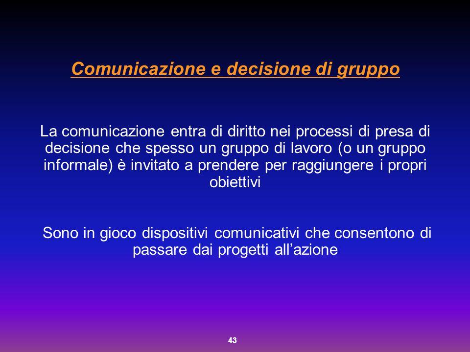 43 Comunicazione e decisione di gruppo La comunicazione entra di diritto nei processi di presa di decisione che spesso un gruppo di lavoro (o un grupp