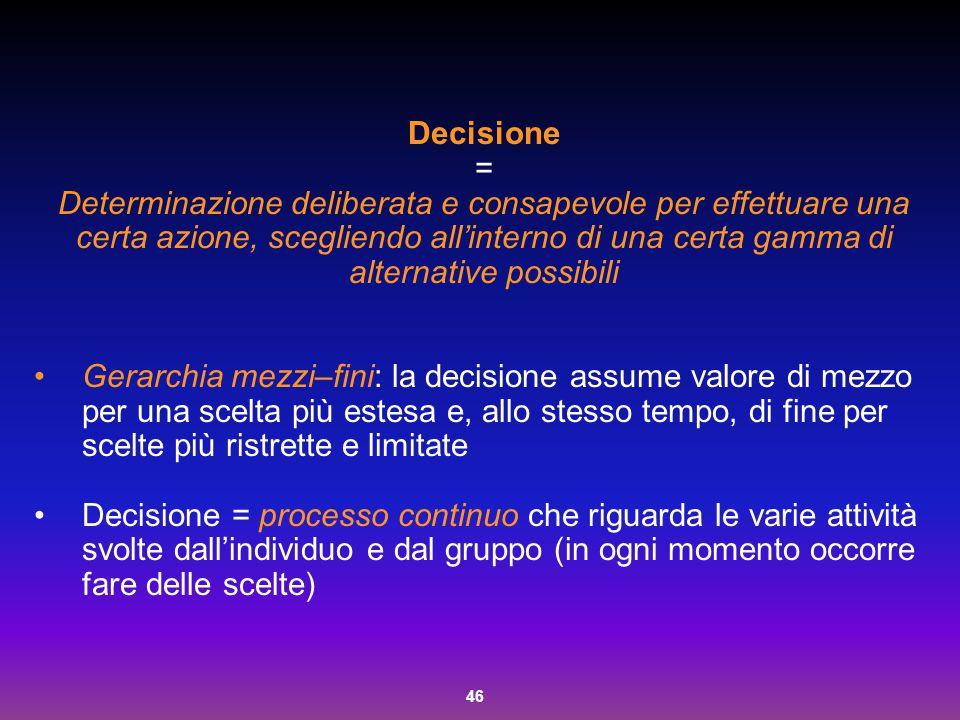 46 Decisione = Determinazione deliberata e consapevole per effettuare una certa azione, scegliendo all'interno di una certa gamma di alternative possi